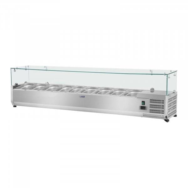 Kühlaufsatzvitrine - 200 x 39 cm - 9 GN 1/3 Behälter - Glasabdeckung
