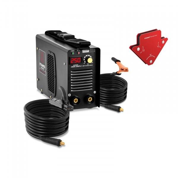 Set Elektroden Schweißgerät plus 2 Schweißwinkel - 250 A - 8 m Kabel - Hot Start