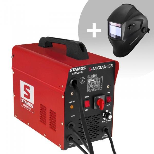 Schweißset Kombi-Schweißgerät - 155 A - 230 V - tragbar + Schweißhelm – Blaster