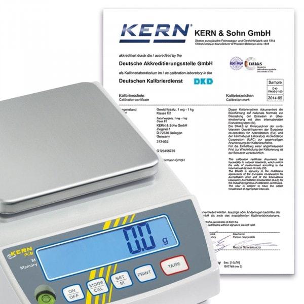KERN DAkkS-Kalibrierschein für Kranwaagen > 50 kg - 350 kg