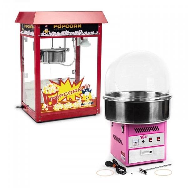 Set Popcornmaschine und Zuckerwattemaschine - 1.600 W / 1.200 W - Spuckschutz