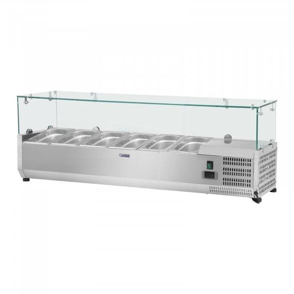 Kühlaufsatzvitrine - 140 x 33 cm - 6 GN 1/4 Behälter - Glasabdeckung