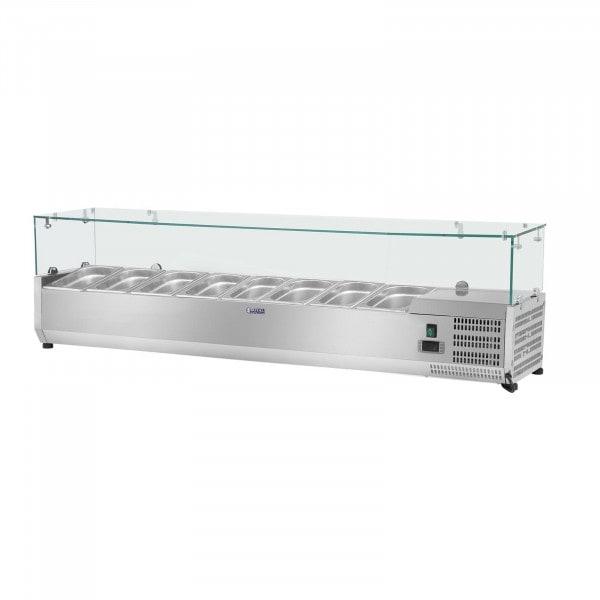 B-WARE Kühlaufsatzvitrine - 180 x 39 cm - 8 GN 1/3 Behälter - Glasabdeckung