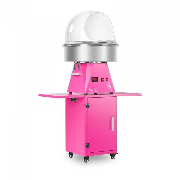 Zuckerwattemaschine Set mit Unterwagen und Spuckschutz - 52 cm - pink/pink