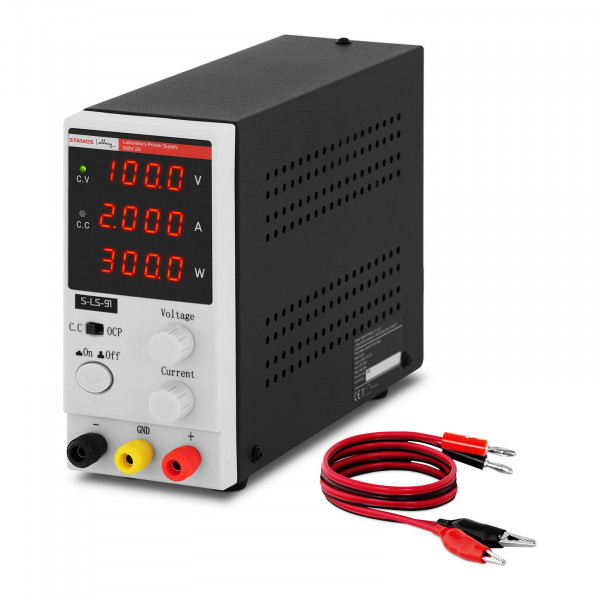 Labornetzgerät - 0 - 100 V - 0 - 2 A DC - 200 W - 4-stellige LED-Anzeige
