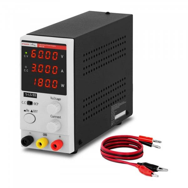 Labornetzgerät - 0 - 60 V - 0 - 3 A DC - 180 W - 4-stellige LED-Anzeige