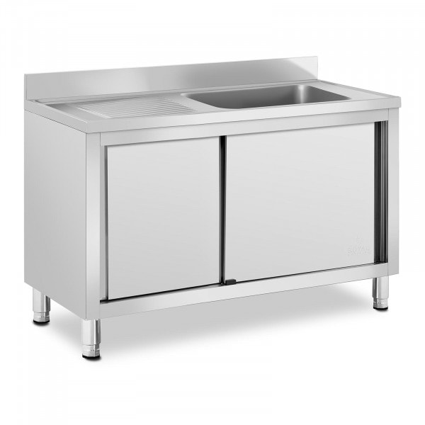 Spülenschrank - 1 Becken - Royal Catering - Edelstahl - 500 x 400 x 260 mm