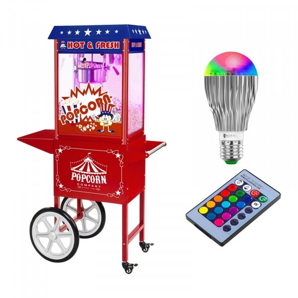Popcornmaschine mit Wagen und LED-Beleuchtung - USA-Design - rot