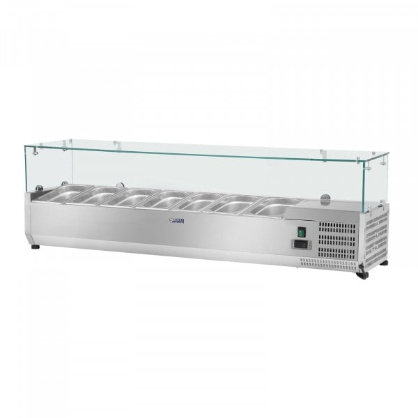 Kühlaufsatzvitrine - 150 x 33 cm - 7 GN 1/4 Behälter - Glasabdeckung