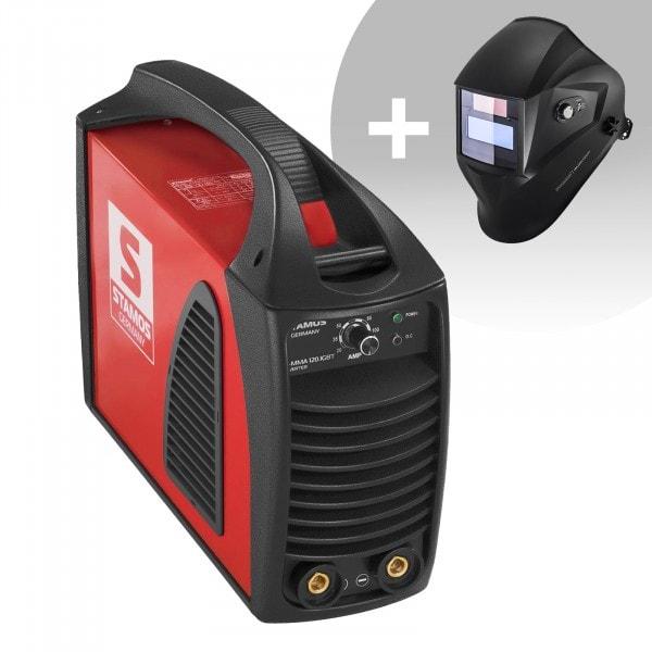 Schweißset Elektroden Schweißgerät – 120 A - Hot Start - IGBT + Schweißhelm – Operator