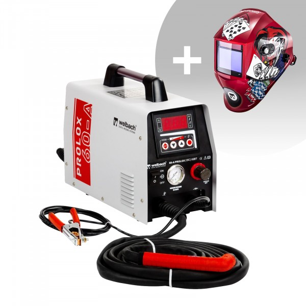 Schweißset Plasmaschneider - 40 A - 230 V - digital - Pilotzündung + Schweißhelm – Pokerface