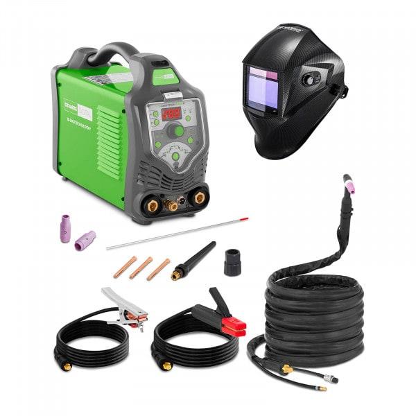 Schweißset WIG Schweißgerät - 200 A - 230 V - Puls - digital - 2/4 Takt + Schweißhelm – Carbonic