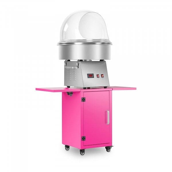 Zuckerwattemaschine Set mit Unterwagen und Spuckschutz - 52 cm - Edelstahl/pink