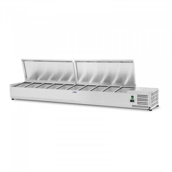 Kühlaufsatzvitrine - 200 x 33 cm - 10 GN 1/4 Behälter