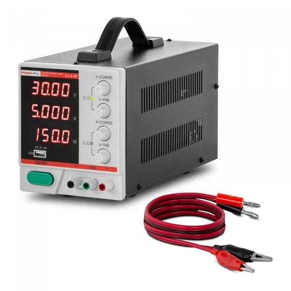 Labornetzgerät - 0 - 30 V - 0 - 5 A DC - 150 W - 4-stellige LED-Anzeige - USB