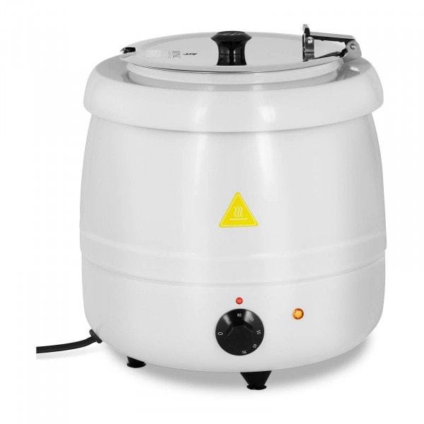 Suppentopf elektrisch - 10 L - Stahl - weiß beschichtet