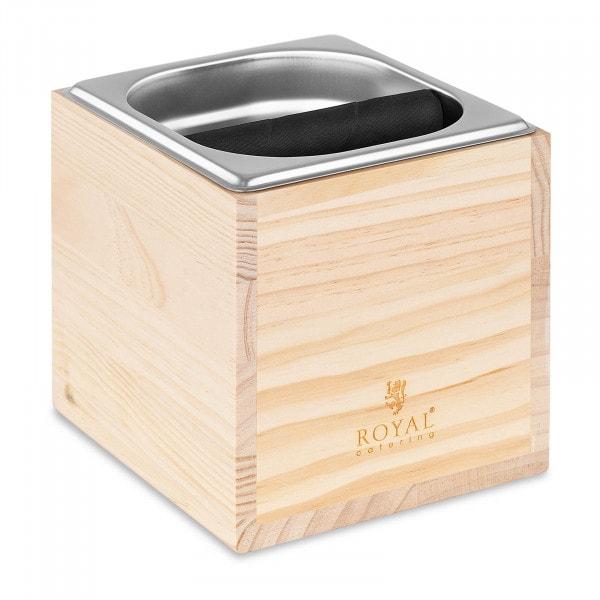 Espresso Klopfbehälter - GN 1/6 - 2200 ml - mit Abklopfstange und Holzverkleidung
