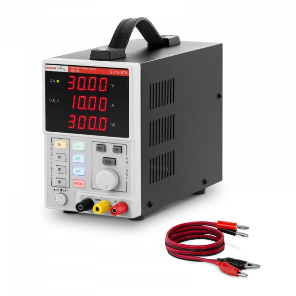 Labornetzgerät - 0 - 30 V - 0 - 10 A DC - 300 W - 4 Speicherplätze - 4-stellige LED-Anzeige