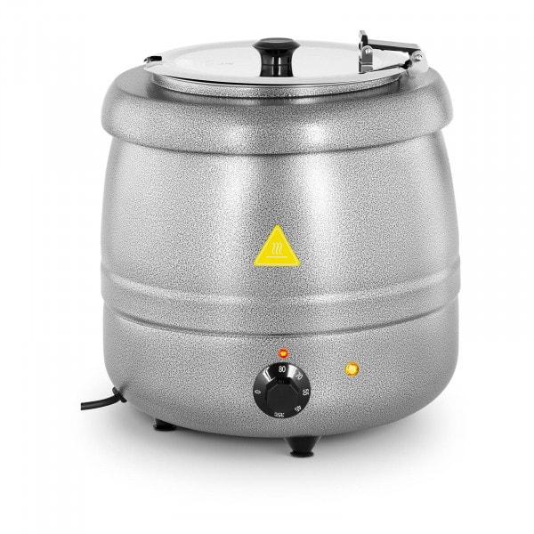 Suppentopf elektrisch - 10 L - Stahl - silbern beschichtet