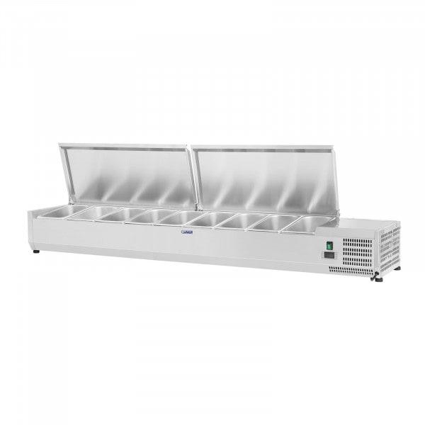 Kühlaufsatzvitrine - 180 x 33 cm - 9 GN 1/4 Behälter
